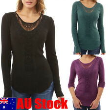 Womens Ladies Long Sleeve O Neck Blouse Hollow Out Casual Fit Bodycon Shirt Tops