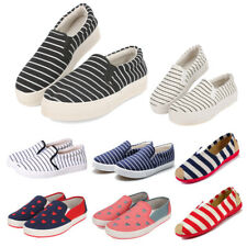 Women's Canvas Shoes Striped Low Top Slip On Loafers Soft Casual Sneakers Flats