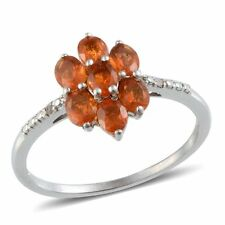 Jalisco Mexican FIRE OPAL , DIAMOND RING in Platinum / Sterling Silver 0.85 Cts.