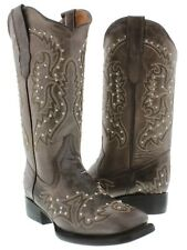 Womens Brown Silver Stitched Studded Cowboy Boots Leather Western Square Toe