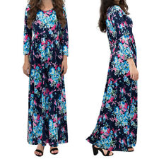Womens Lady Floral Long Maxi Dress Long Sleeve Evening Party Summer Fall Casual