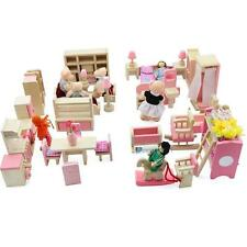 Dolls House Furniture Wooden Set People Dolls Toys For Kids Children Gift New FT