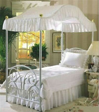 NEW! TWIN OR FULL SIZE WHITE EYELET WITH HOLES PRINCESS BED CANOPY FABRIC TOPPER