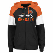 NFL Cincinnati Bengals Women's Black Hot Route Full Zip Hoodie Jacket Majestic