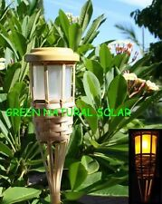 4-Pack Solar-Powered Bamboo Tiki Torch Led Path Lights W/ 5 LEDs & 2 Batteries