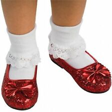The Wizard of Oz Girls Dorothy Costume Ruby Red Slippers Shoes Flats
