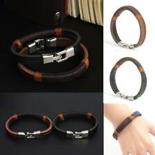 New Surfer Men Vintage Hemp Wrap Leather Wristband Bracelet Cuff Black Brown LB6