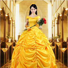 Beauty and The Beast Princess Belle Cosplay Costume Ladies Ball Gown Fancy Dress