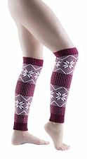 Womens Fair Isle Warm Winter Legwarmers Soft Thick Size: One Size Fits Most
