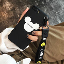For Apple iPhone Case Classic Cartoon Cute Soft Silicone Back Cover w/ Strap
