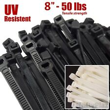 8 Inch Cable Ties - 200 Pack - UV Weather Resistant - 50 LBS Nylon Wrap Zip Ties
