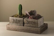 His & Hers Succulent Trough Set w/ Tray