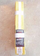 Official Gracie Barra Yellow Belt with White Stripe Sizes M00 and M000 New