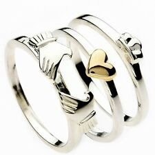 New Silver & Gold Irish Claddagh Heart 3 Piece Stacking Ring Celtic Jewellery