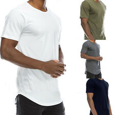 Men Summer T-Shirt Cotton Solid Color Basic Crew Neck Hip Hop Top Tee Engaging