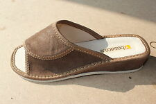 Womens Genuine Suede Leather Ladies Slippers Wedge Heel House Shoes Size UK 3-8
