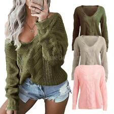 Women Long Sleeve Knitting Sweater Hollow Pullover Tops Casual Knitted NEW W6A6