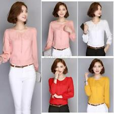 Women OL Office Shirts Solid Loose Long Sleeve Button Down Blouse Casual Tops