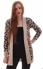 Womens Ladies Leopard Print Open Front Long Sleeve Knitted Cardigan Jumper Top