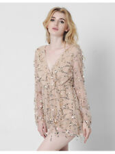 Women Sexy Deep-V Neck Sequins Long Sleeves Party Club Dresses Mesh Short Skirts