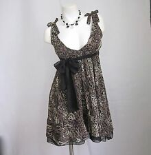 S L Dress Leopard Print Rockabilly Pinup New Women Party Swing Chiffon Lined