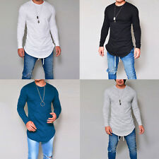 Mens Fashion Slim Fit Long Sleeve Casual T-shirt O Neck Solid Color Tops Tee