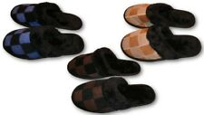 Mens Leather Suede House Slippers Chess-Patch Faux Fur-Cuff Slip-On Indoor Shoes