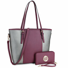 New Dasein Womens Faux Leather Tote Bags Shoulder Bag Large Purse w/ Wallet