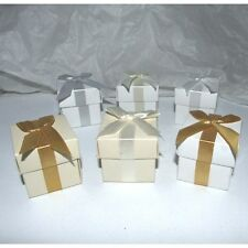 Elegant Square Favour Boxes with Ribbon Bow, Choose Box and Ribbon Colour & Qty