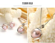 Natural Freshwater Pearl, Earrings, Necklace, Ring Set, Pearl Size 8-10mm