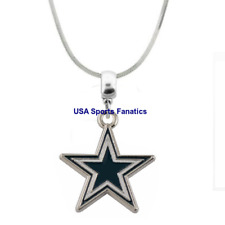 NFL Dallas Cowboys Team Star Logo Pendant Necklace On 925 Snake Chain  (5 Sizes)