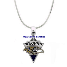 NFL Baltimore Ravens 925 Sterling Silver Team Logo Necklace (5 Different Sizes)