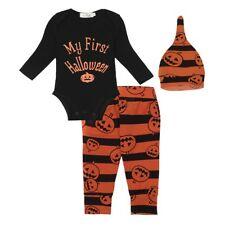 Infant Baby Boy Girl Pumpkin Romper Bodysuit Pants Hat Halloween Outfit 3PCS Set