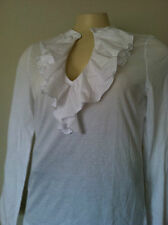 NWT Women Chaps V-neck Cotton Ruffle Knit Top White Long Sleeves Sz. XL NEW