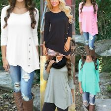 Women Solid Color Long Sleeve Blouse Large O Neck Loose Shirt Tops Plus Size