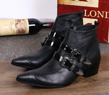 Business Men's Real Leather Buckles Pointed Toe Cuban Heel Dress Formal Shoes
