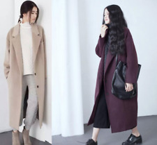 Womens Retro Wool Blended Trench Long Coat Outwears Jacket Lapel New Long Loose