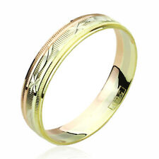 14K Tri-Color Gold Wedding Band 4mm Diamond-cutting Patterned Thin & Light Ring