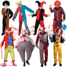 NEW MENS CLOWN IT JESTER HORROR SCARY HALLOWEEN CIRCUS KIDS FANCY DRESS COSTUME