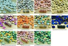 40pcs Rough Rustic Etched Large Lentil Czech Glass Beads Flat Round One Hole 8mm