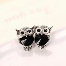 Women Jewelry Crystal Owl Stud Earrings Vintage Gold-Color Animal Statement Earr
