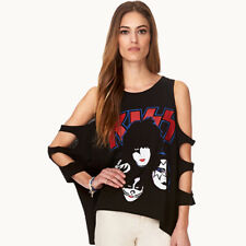 Women's Batwing Hollow Out Sleeve Casual Draw Printed Loose T-Shirt Blouse Tops