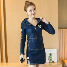 Women's Zip-Front SlimWaist Package Hips Long Sleeve Hoodie Denim Bodycon Dress