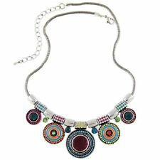 New Choker Necklace Fashion Ethnic Collares Vintage Silver Color Colorful Bead P