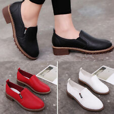 Women Round Toe Faux Leather Flat Shoes Solid Color Slip-on Shoes Engaging