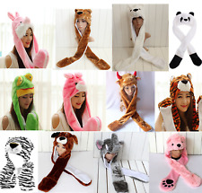 Unisex Cartoon Animal Long Style Plush Hoodie Scarf Winter Warm Party Cap Hat