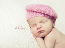 Hand Knitted Crochet Baby Hat Beret Sequined Girl Pink Photo Prop Newborn-12m