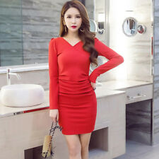 Women's Slim Package-Hips V-Neck Long Sleeve Ruched Crepe Pleated Bodycon Dress