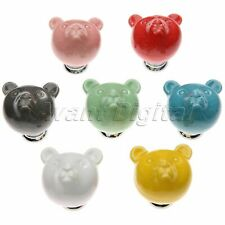 Novelty Bear Pattern Cabinet Drawer Wardrobe Soild Ceramic Pulls Handles Knobs