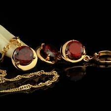 Set Necklace Pendant Zirconia Earrings Red 585 14k Gold-Plated S1931